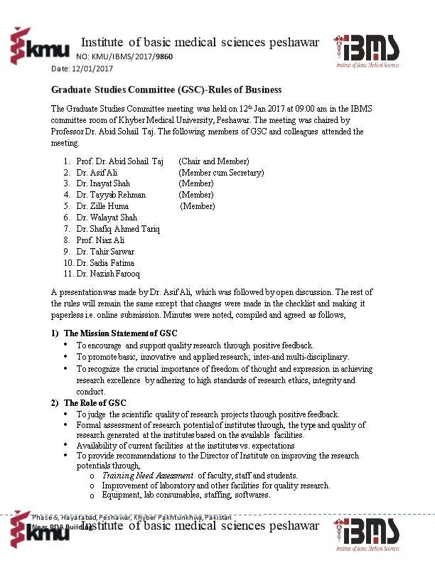 Graduate Studies Committee (GSC)-Rules of Business