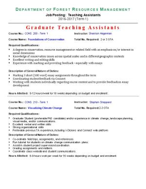 Graduate Teaching Assistants