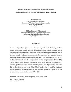 Growth Effects of Globalization in the Low Income