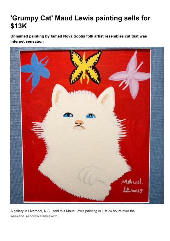 'Grumpy Cat' Maud Lewis Painting Sells for $13K