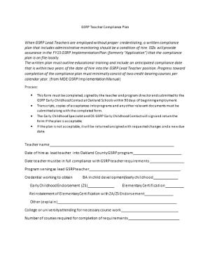 GSRP Teacher Compliance Plan