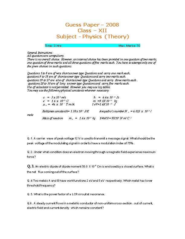Guess Paper 2008 Class XII Subject - Physics (Theory)