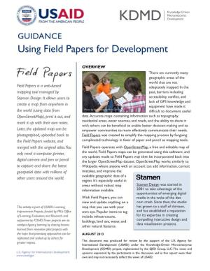 GUIDANCE Using Field Papers for Development