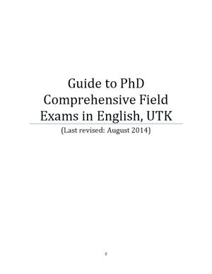 Guide to Phd Comprehensive Field Exams in English, UTK