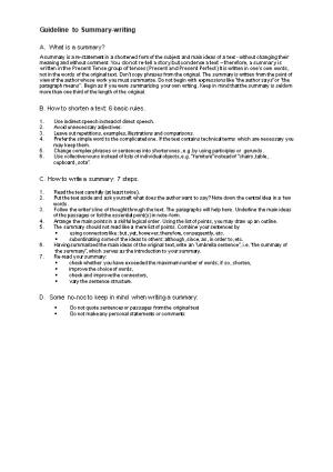 Guideline to Summary-Writing