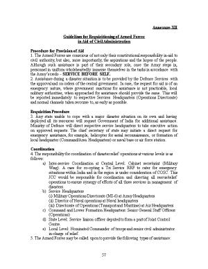 Guidelines for Requisitioning of Armed Forces in Aaid