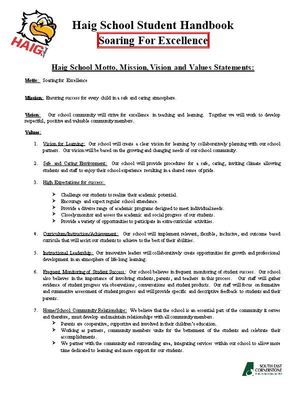 Haig School Motto, Mission, Vision and Values Statements