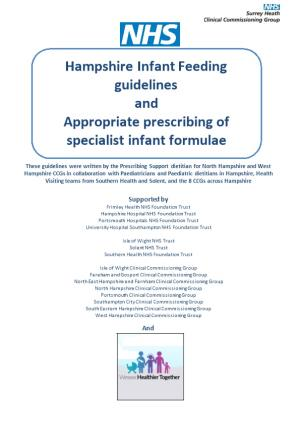 Hampshire Infant Feeding Guidelines and Appropriate Prescribing of Specialist Infant Formulae