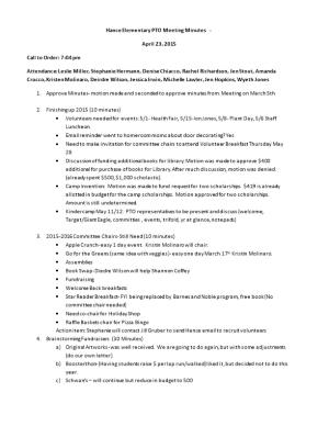 Hance Elementary PTO Meeting Minutes