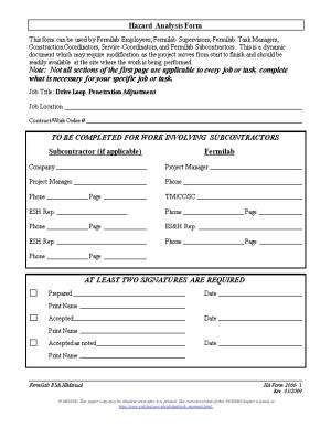 Hazard Analysis Form
