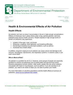 Health & Environmental Effects of Air Pollution