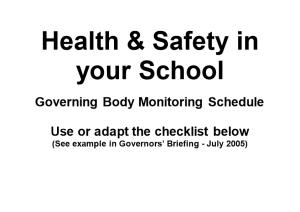 Health & Safety in Your School