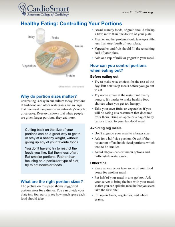 Healthy Eating: Controlling Your Portions
