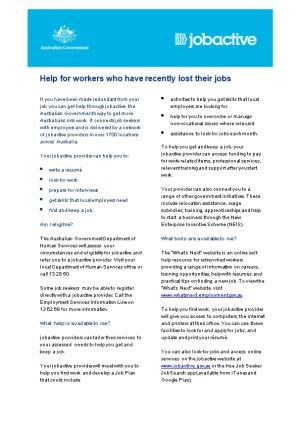 Help for Workers Who Have Recently Lost Their Jobs