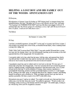 Helping a Lost Boy and His Family out of the Woods -Spontaneous Eft