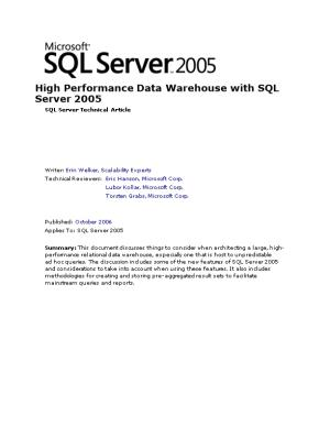 High Performance Data Warehouse with SQL Server 2005