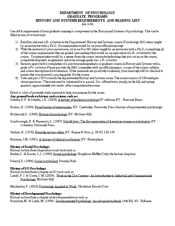 History and Systems Requirements and Reading List