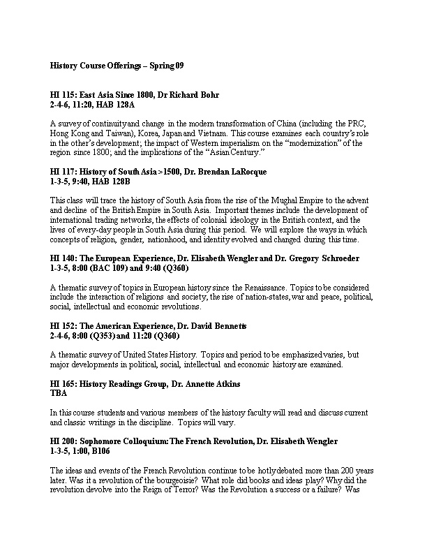 History Course Offerings Spring 09