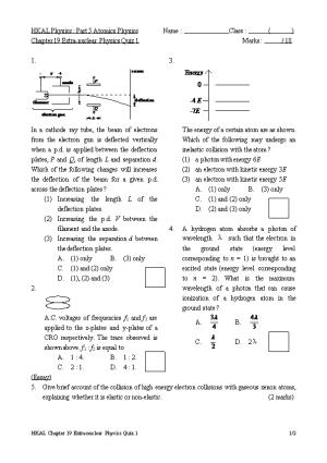 HKAL Physics : Part 5 Atomics Physicsname : Class : ( )