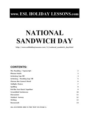 Holiday Lessons - National Sandwich Day