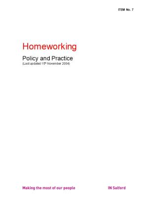 Homeworking Policy and Practice