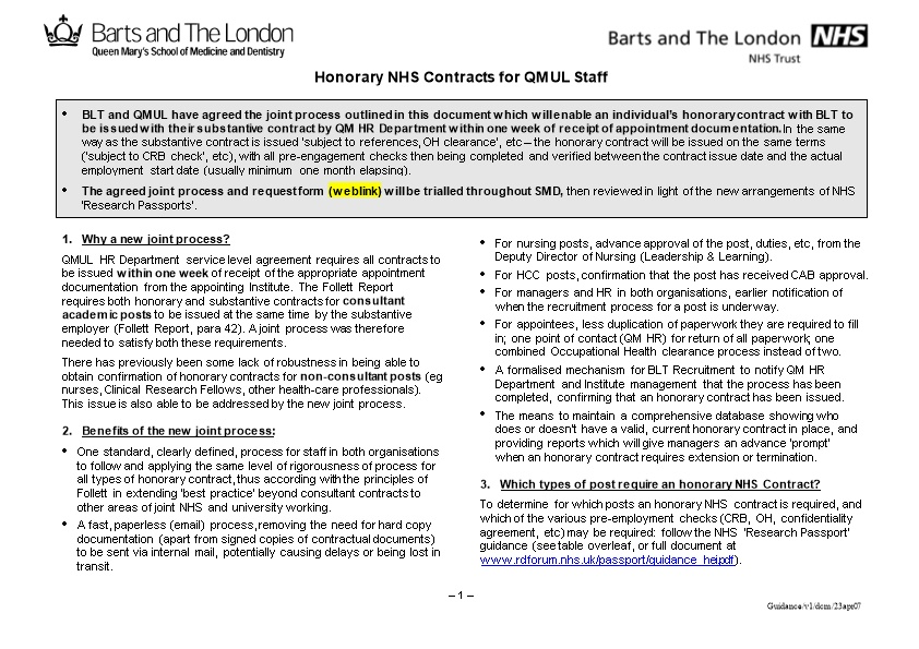 Honorary NHS Contracts for QMUL Staff