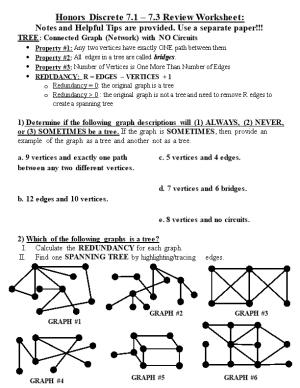 Honors Discrete 7.1 7.3 Review Worksheet