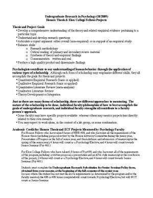 Honors Thesis & Elon College Fellows Projects