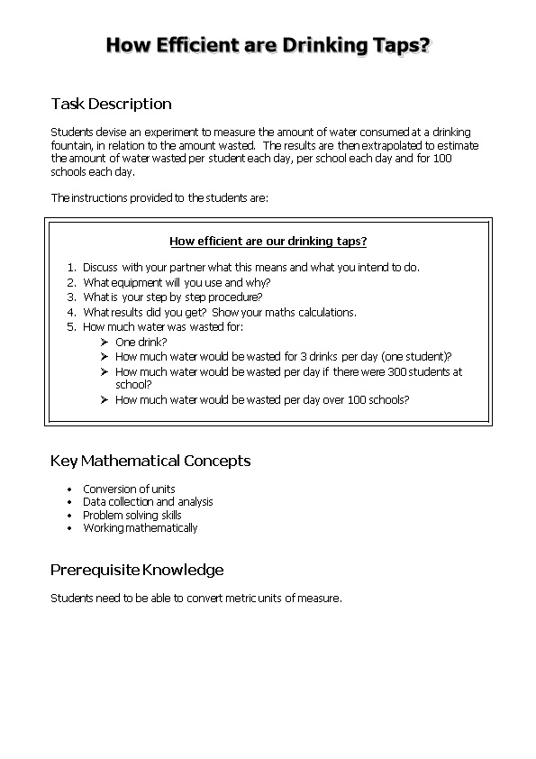 How Efficient Are Drinking Taps? Activity Sheet