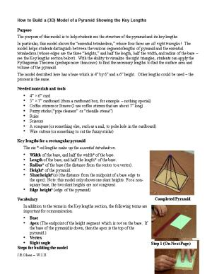 How to Build a (3D) Model of a Pyramid Showing the Key Lengths