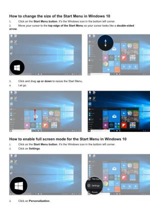 How to Change the Size of the Start Menu in Windows 10