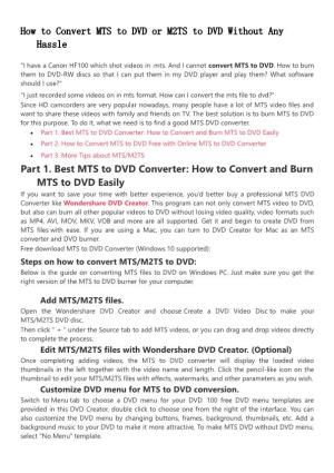 How to Convert MTS to DVD or M2TS to DVD Without Any Hassle
