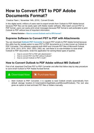 How to Convert PST to PDF Adobe Documents Format?