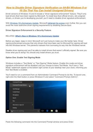 How to Disable Driver Signature Verification on 64-Bit Windows 8 Or 10