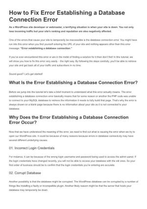 How to Fix Error Establishing a Database Connection Error