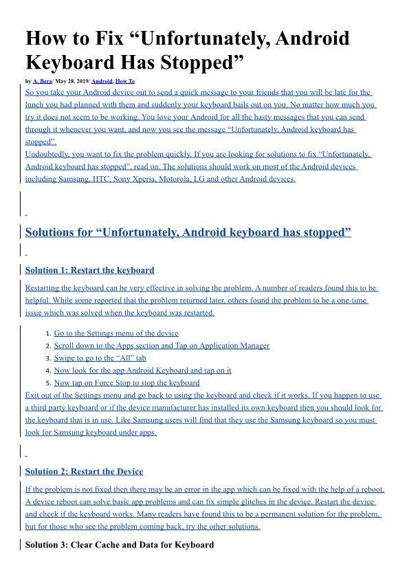 """How to Fix """"Unfortunately, Android Keyboard Has Stopped"""""""