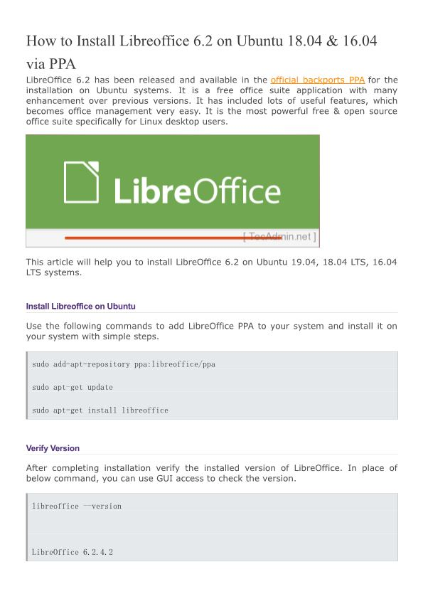 How to Install Libreoffice 6.2 on Ubuntu 18.04 & 16.04 Via PPA