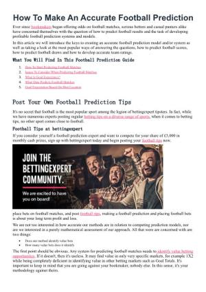 How to Make an Accurate Football Prediction