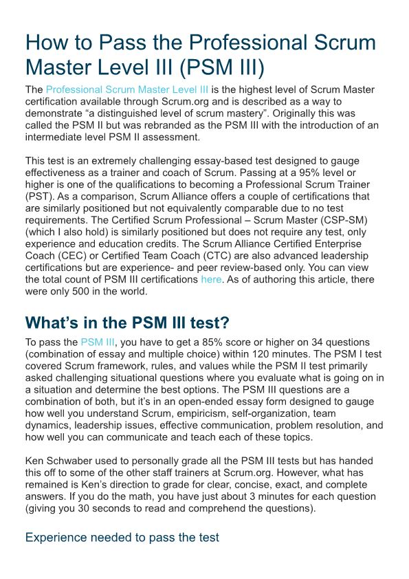 How to Pass the Professional Scrum Master Level III (PSM III)