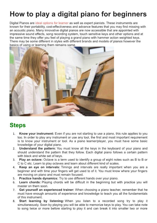 How to Play a Digital Piano for Beginners