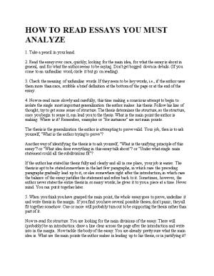 How to Read Essays You Must Analyze
