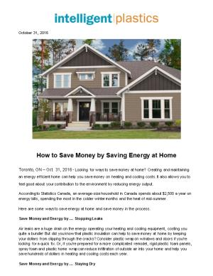 How to Save Money by Saving Energy at Home