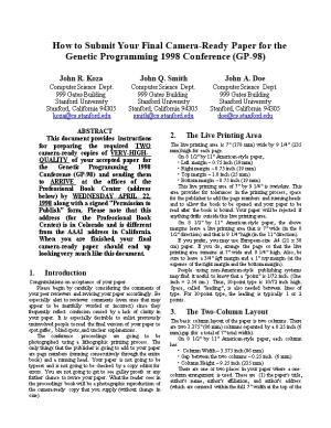How to Submit Your Final Camera-Ready Paper for the Genetic Programming 1998 Conference (GP-98)