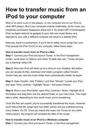 How to Transfer Music from an Ipod to Your Computer