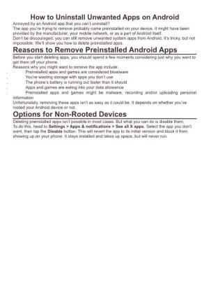 How to Uninstall Unwanted Apps on Android