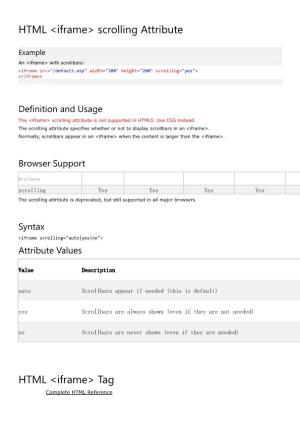 html iframe scrolling attribute