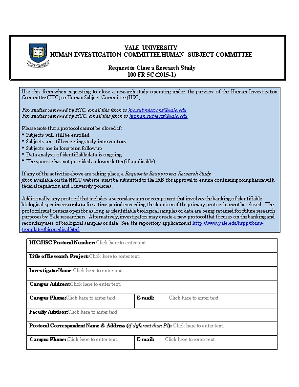 Human Investigation Committee/Human Subject Committee
