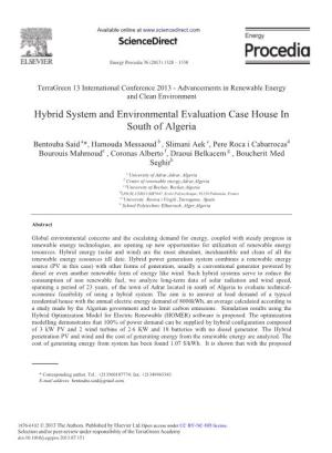 Hybrid System and Environmental Evaluation Case House in South of Algeria