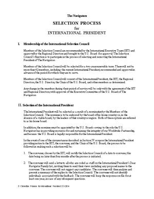 I. Membership of the International Selection Council
