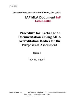 IAF ML1:2003 Exchange of Docs